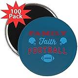 CafePress - Family Faith Football Blue - 2.25'' Magnet (100 pack)