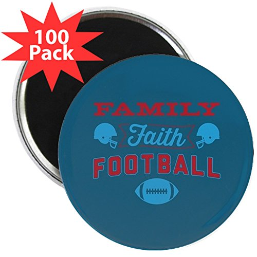 CafePress - Family Faith Football Blue - 2.25'' Magnet (100 pack) by CafePress