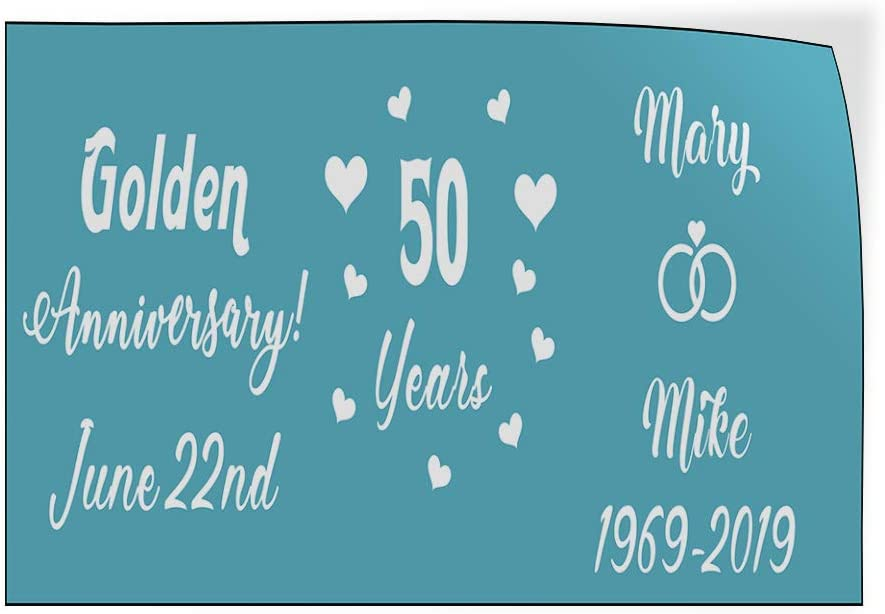 Custom Door Decals Vinyl Stickers Multiple Sizes Golden Anniversary Husband Wife Blue Lifestyle Golden Anniversary Outdoor Luggage /& Bumper Stickers for Cars Blue 54X36Inches Set of 5