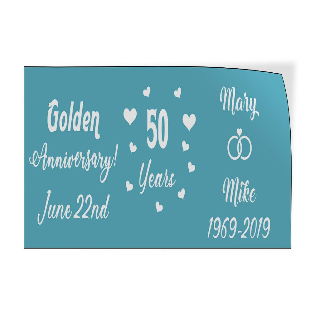 Decal Sticker Multiple Sizes Happy Anniversary #1 Style C Lifestyle Happy Anniversary Outdoor Store Sign White 54inx36in Set of 2
