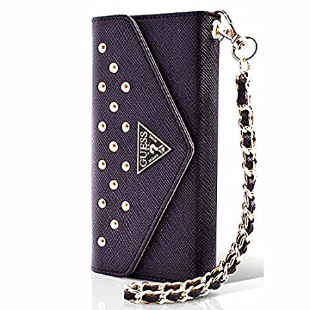 Guess - Funda tipo bolso con tachuelas para iPhone 6 Plus (con tarjetero), color negro: Amazon.es: Electrónica