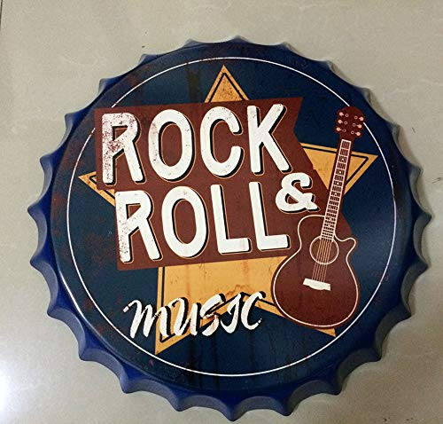 NEWNESS WORLD Rock and ROLL Music Retro Bottle Cap Metal Tin Signs Beer Cap Decoration Plates Wall Art Plaque Decoration Home Decoration/Bar/Cafe Bar(35cm by 35cm)