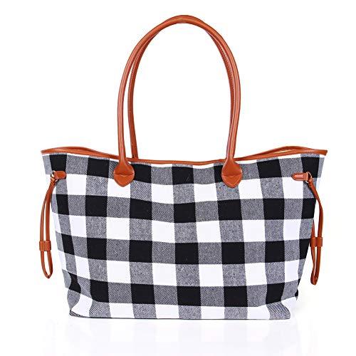 (Warmhol Buffalo Plaid Tote Bag Weekender Travel Bags Duffel Tote Bag for Men Women(White, Black)))