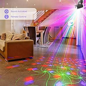 511EZOOlkTL. SS300  - GVOO-DiscokugelGvoo-Sound-Aktivierte-Party-Light-LED-Bhnenprojektor-6-Farben-24-Muster-mit-Fernbedienung-fr-Urlaub-Party-Kinder-Geburtstag-Karaoke-Club-Lichteffekte-Weihnach