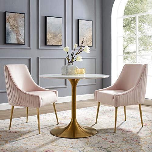 Modway Discern Pleated Back Upholstered Performance Velvet Dining Chair Set of 2