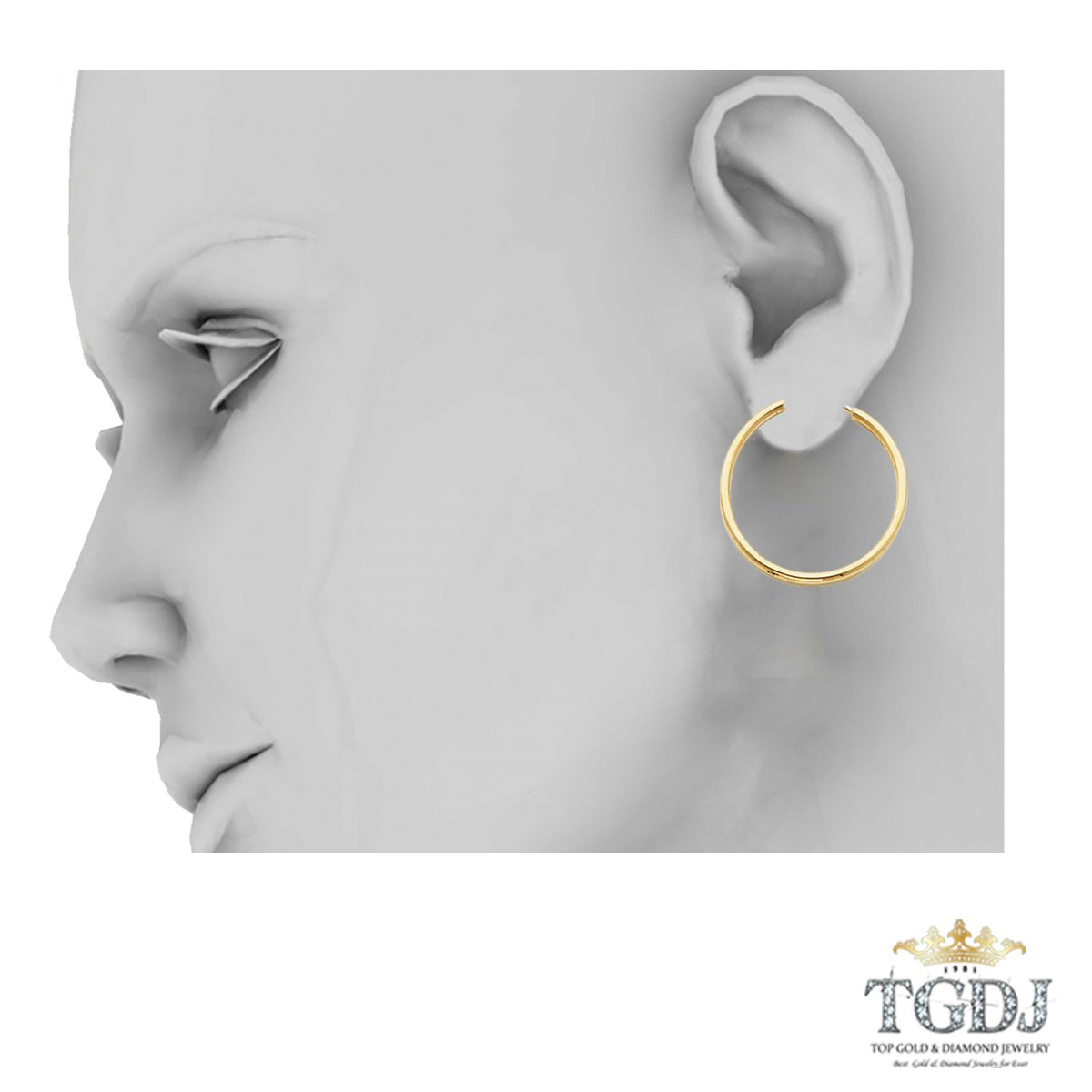 Diameter 20mm 14K Yellow Gold 2MM Thickness Hinged Hoop Earrings