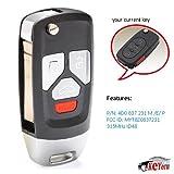 2000 audi key fob - Keyecu Upgraded Replacment Flip Remote Key Fob for Audi TT A4 A6 A8 97-05 MYT8Z0837231