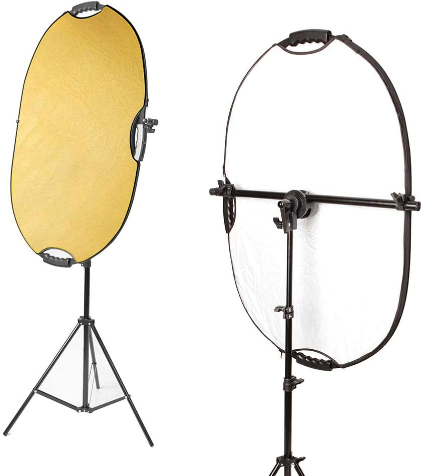 24x36 inches 5 in 1 reflectors with 78 inches Light Stands and Extendable Holder Arm Clips for Photo Studio Lighting Selens Photography Reflector Stand kit