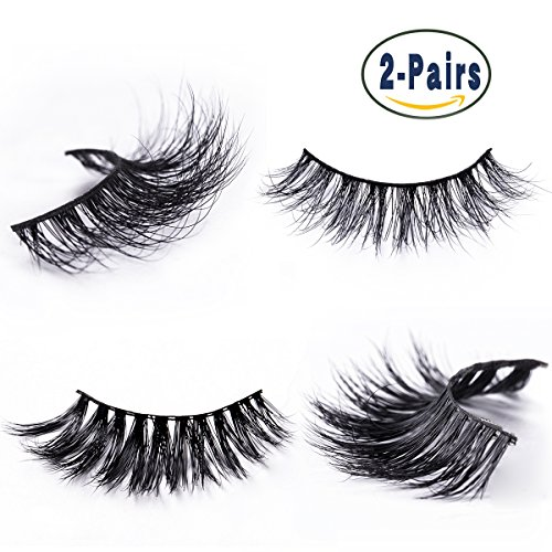 4fa7fd92c20 Mink Fur False Eyelashes Pack of 2,100% Mink Hair Fake Eyelash in 3D  Natural Lashes