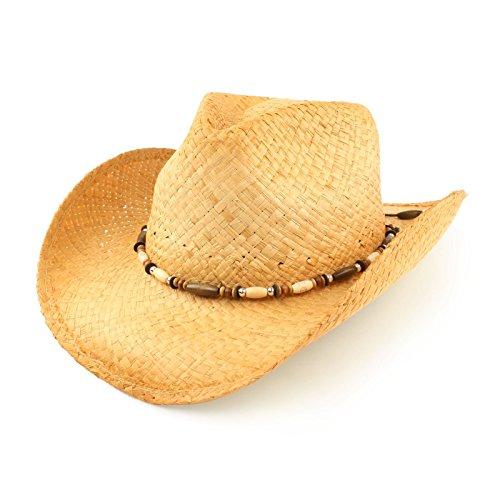 (Unisex Raffia Straw Shapeable Wire Brim Wooden Beads Western Cowboy Hat 59cm L)