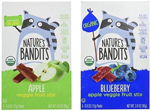 Nature's Bandits Organic Fruit & Veggie Stix, Variety Pack (Apple & Blueberry), 0.6 Ounce 5 Pack (2 Count) Gluten Free, Vegan, Kosher