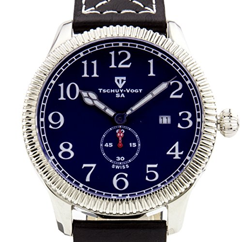 Tschuy-Vogt A24 Cavalier Mens Watch - Black Leather Strap, Silver Case, Blue Dial