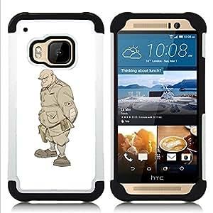 """HTC One M9 /M9s / One Hima - 3 en 1 impreso colorido de Altas Prestaciones PC Funda chaqueta Negro cubierta gel silicona suave (Monster Solider Undead Warrior Soldat"""")"""