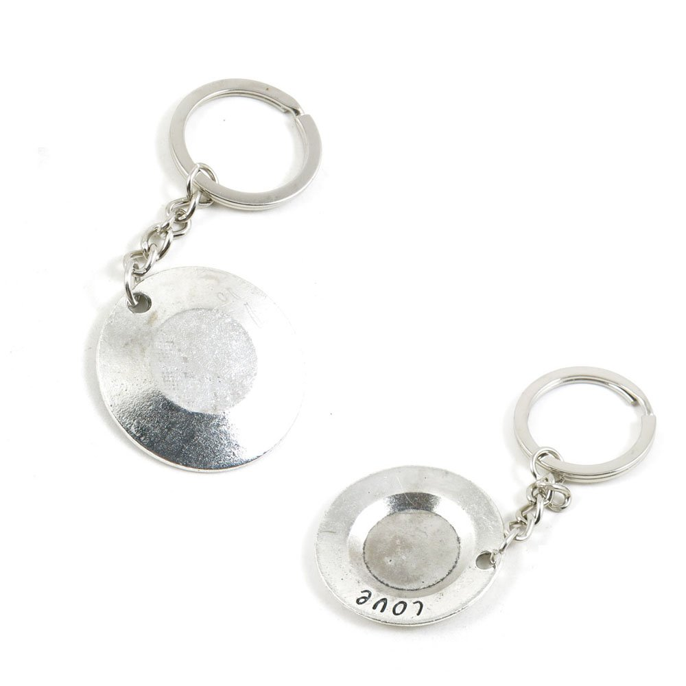 100 PCS Love Plate Keychain Keyring Jewelry Making Charms Door Car Key Tag Chain Ring I6WR7C