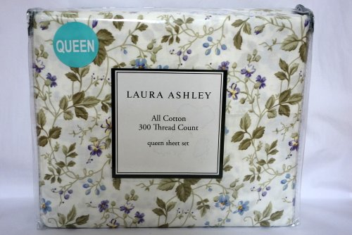 (Laura Ashley All Cotton 300 Thread Count Queen Sheet Grand Lit Set)