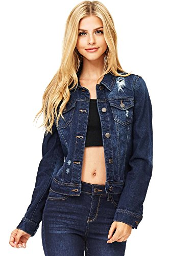 Wax Women's Juniors Classic Oversize Denim Jacket (S, Dark)