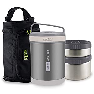Home Puff Double Wall Vacuum Insulated Stainless Steel Lunch Box, 2-Containers, 1.3 Litre, Metallic Grey