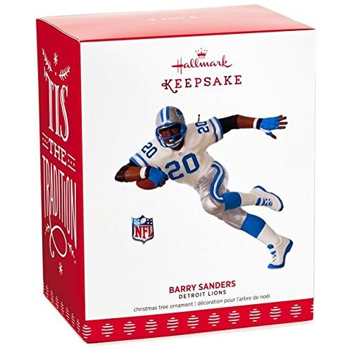 Hallmark Keepsake 2017 NFL Detroit Lions Barry Sanders Christmas Ornament