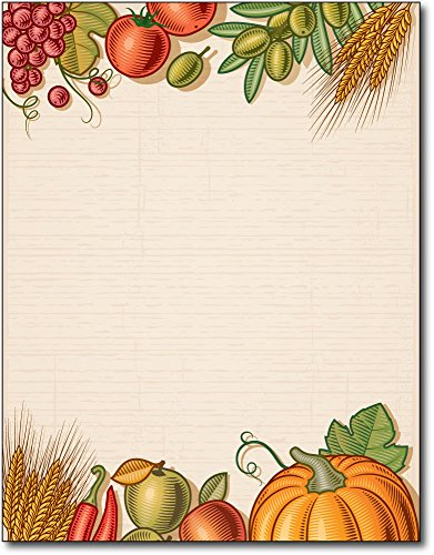 Fall Harvest Table Thanksgiving Stationery Paper - 80 Sheets -
