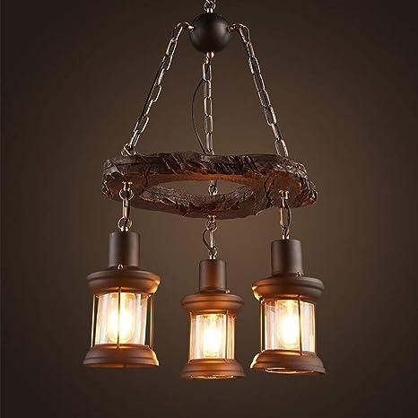 Lámpara de techo vintage de madera y metal, altura regulable ...