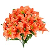 Admired By Nature Artificial Full Blooming Tiger Lily with Greenery - 14 Stems for Home, Wedding, Restaurant and Office Decoration Arrangement, Salmon