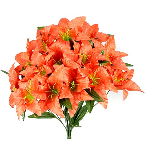 (Admired By Nature Artificial Full Blooming Tiger Lily with Greenery - 14 Stems for Home, Wedding, Restaurant and Office Decoration Arrangement, Salmon)