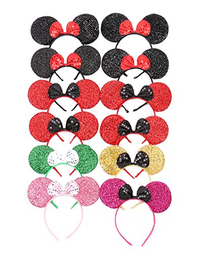 Ideas World Costume Toddlers Day Book For (RufNTop Mickey and Minnie Mouse Sparkled Ears Headband for Boys and Girls Costume Accessory for Birthday Party or Celebrations(MIX Colors Sparkled2 set of)