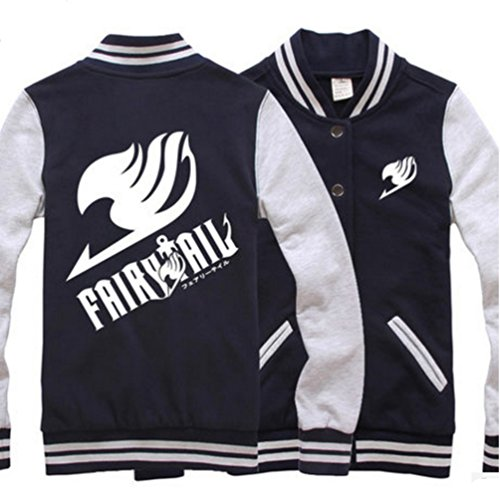 Ru Xing Fairy Tail Cotton Baseball Uniform Unisex Cosplay Costume Autumn and Winter Coat (M, Navy (Baseball Cotton Costume)