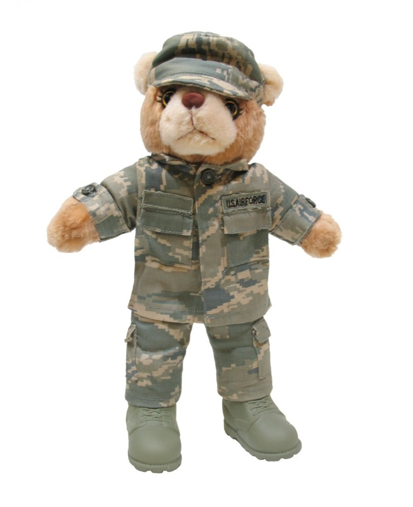 """Stuffed 10"""" teddy bear in personalized custom embroidered or plain  U.S. Army Combat Military Uniform"""