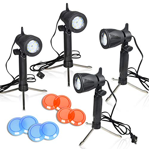 Emart Photography LED Continuous Light Lamp 5500K Portable Camera Photo Lighting for Table Top Studio – 4 Sets