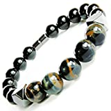 ONE ION Keeper's Tiger eye Matrix Bracelet Keeper's Tiger eye Matrix Bracelet - Hematite Black Tourmaline Power Magnetic Clasp (8 Inches)