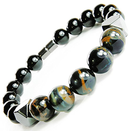 7 Inch Tiger Eye - ONE ION Keeper's Tiger Eye Matrix Bracelet Keeper's Tiger Eye Matrix Bracelet - Hematite Black Tourmaline Power Magnetic Clasp (7 Inches)
