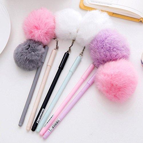 Slendima 0.5 mm Cute Faux Fur Pom Pom Ball Pendant Black Ink Gel Pen Gift for Girl Women - Random Color Size ()
