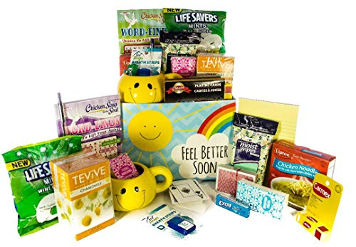 Sun Shine and Rainbows Feel Better Soon Gift Basket, Get Well Wishes - Great Gift for Surgery / Injury / Cold / Flu / Illness - Send some Care, Concern, and Love in This Care Package