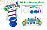 O.B Toys&Gift Musical Kids Electronic Keyboard 24 Key Piano Music Instruments w/ Microphone & Stool , Organ for Kids (Blue)