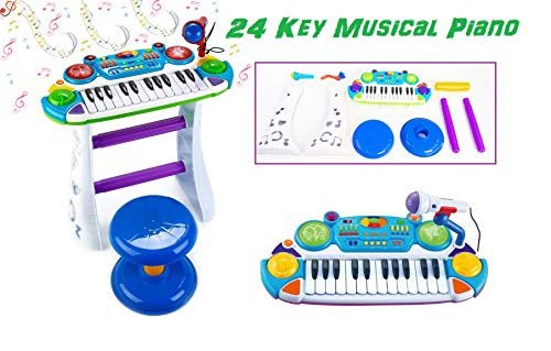 - O.B Toys&Gift Musical Kids Electronic Keyboard 24 Key Piano Music Instruments w/ Microphone & Stool , Organ for Kids (Blue)