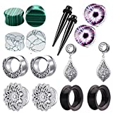 TIANCI FBYJS 8 Pairs Surgical Steel Dangle Gauges Ear Tunnels Earring 2g Plugs Silicone Stone Piercing Stretcher (6mm=2g)