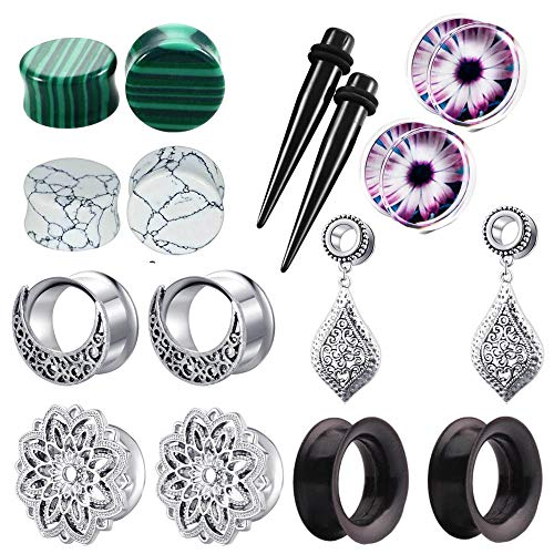Gauge Dangle - TIANCI FBYJS 8 Pairs Dangle Ear Tunnels Earring Gauges Silicone Stone Piercing Plugs 00g (12mm=1/2'')