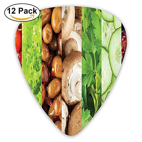 Newfood Ss Collage Of Fresh Tomatoes Lettuce Olives Mushroom Cucumber Parsley Healthy Foods Guitar Picks 12/Pack Set ()
