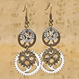 WELL New Steampunk Earrings Antique Bronze Gears Jewelry Gorgeous Silver Plated