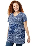 Women's Plus Size Perfect Printed Shirred V-Neck Tunic Evening Blue