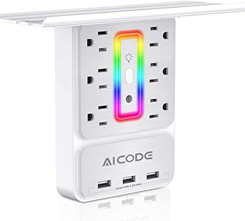 USB Wall Charger,Mountable Surge Protector with Shelf, 6-Outlet Extender with 3 USB Charging Ports 3.2A Total and Multicolored LED Light, for Home, Office, Dorm Essentials, Hotel, White