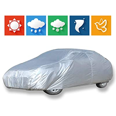 """cciyu Car Cover 100% Waterproof Outdoor Auto Cover All Weather Windproof Snow-Proof Dust-Proof Scratch Resistant UV Protection fit Full Car Cover Length Up to 156"""": Automotive"""