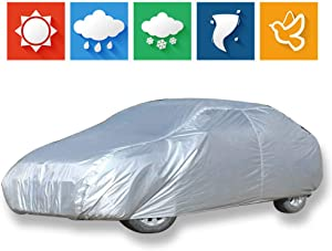 """cciyu Car Cover 100% Waterproof Outdoor Auto Cover All Weather Windproof Snow-Proof Dust-Proof Scratch Resistant UV Protection fit Full Car Cover Length Up to 189"""""""