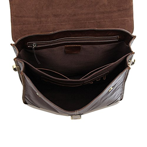UBaymax Aktentasche Ledertasche Laptoptasche Notebook Tasche Handtaschen Umhängetasche Schultertasche Reisetasche Leder Herren 14 Zoll 2 Fächer ,Größe:38 x 30,5 x 9 cm,Braun