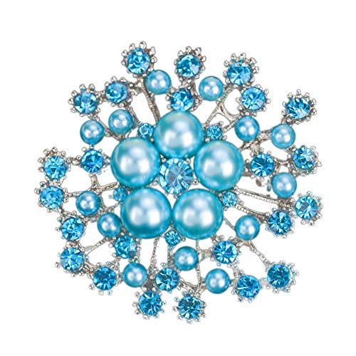 856store Exquisite Brooches Fashion Faux Pearl Rhinistone Hollow Snowflake Women Brooch Pin Clothes Jewelry
