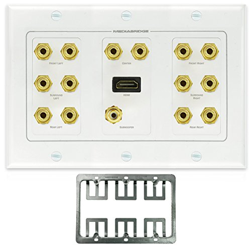 UPC 813077017761, Mediabridge Home Theater Wall Plate w/ Binding Posts (7 Pair), RCA (1 Port) & HDMI (1 Port) - LIMITED TIME OFFER: FREE Mounting Bracket (3-Gang) - 2-Piece Inset Wall Plate (Part# WP3-B7/S1/HDMI1 )