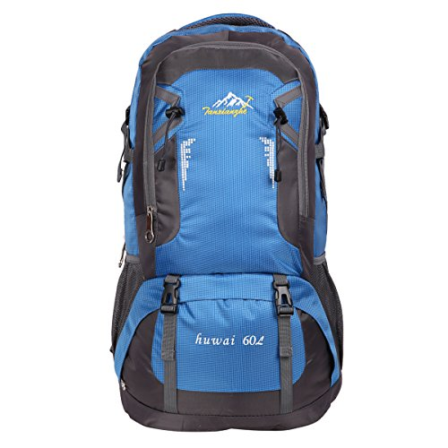 HWJIANFENG Hiking Backpack Travelling Backpack Camping Backpack Cycling Backpack Outdoor Sports Daypack Lightweight Rucksack Women Men 60L Blue For Sale