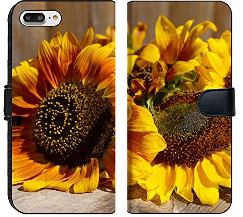 Apple iPhone 7 Plus and iPhone 8 Plus Flip Fabric Wallet Case Image ID 32455065 Beautiful Sunflowers on Wooden Bench Outdoors
