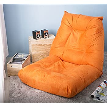 Amazing Merax Adjustable 5 Position Floor Chair Folding Lazy Sofa Floor Sofa Chair  Cushion Orange